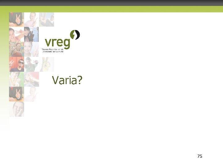 Varia? Vlaamse Regulator van de Elektriciteits- en Gasmarkt 75