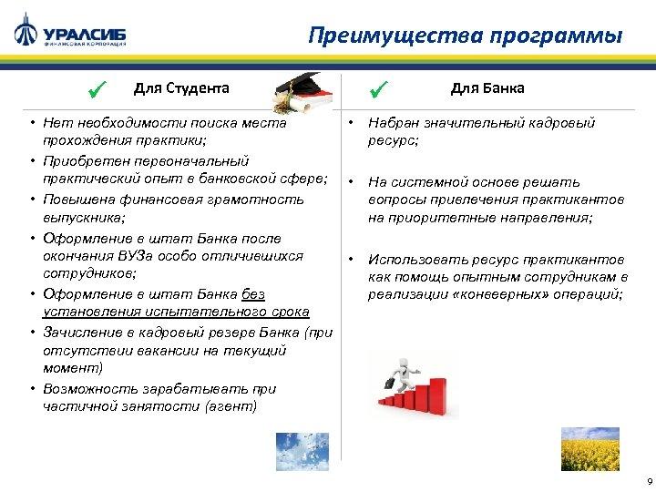 Преимущества программы Для Студента • Нет необходимости поиска места • прохождения практики; • Приобретен