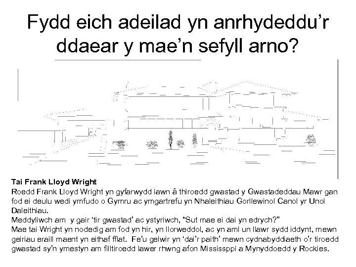 Fydd eich adeilad yn anrhydeddu'r ddaear y mae'n sefyll arno? Tai Frank Lloyd Wright