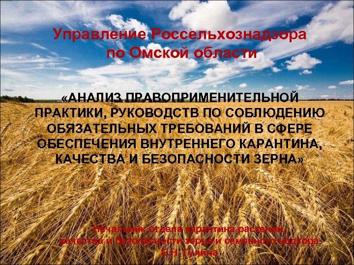 Управление Россельхознадзора по Омской области «АНАЛИЗ ПРАВОПРИМЕНИТЕЛЬНОЙ ПРАКТИКИ, РУКОВОДСТВ ПО СОБЛЮДЕНИЮ ОБЯЗАТЕЛЬНЫХ ТРЕБОВАНИЙ В
