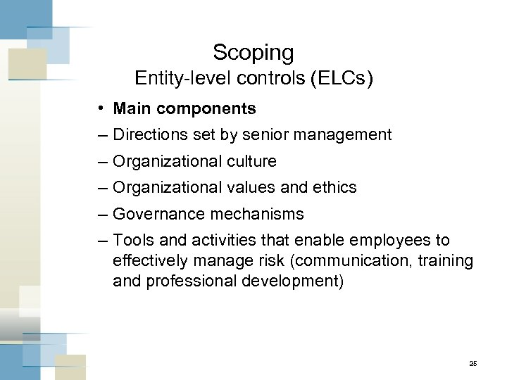 Scoping Entity-level controls (ELCs) • Main components – Directions set by senior management –