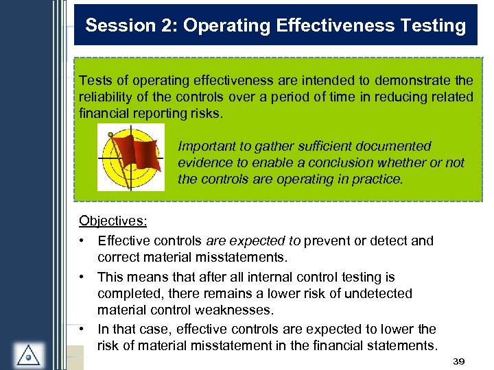 Session 2: Operating Effectiveness Testing Tests of operating effectiveness are intended to demonstrate the