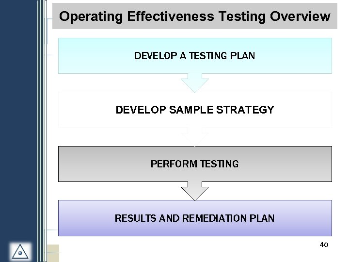 S 1 -3: Process Testing Overview Operating Effectiveness. Overview DEVELOP A TESTING PLAN DEVELOP