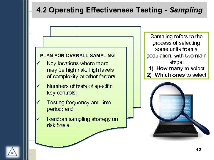 4. 2 Operating Effectiveness Testing - Sampling PLAN FOR OVERALL SAMPLING ü Key locations