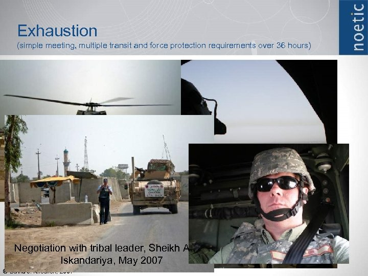 Exhaustion (simple meeting, multiple transit and force protection requirements over 36 hours) Negotiation with