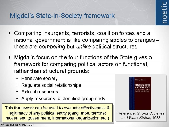 Migdal's State-in-Society framework + Comparing insurgents, terrorists, coalition forces and a national government is