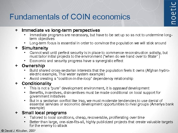 Fundamentals of COIN economics + Immediate vs long-term perspectives • • Immediate programs are