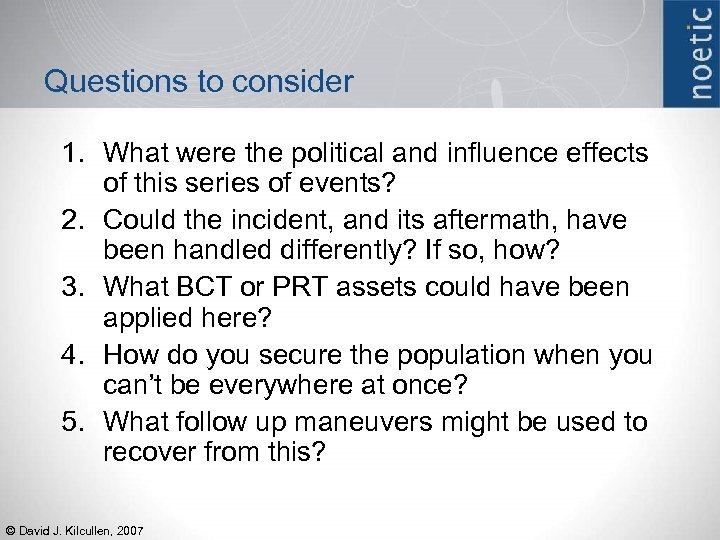 Questions to consider 1. What were the political and influence effects of this series