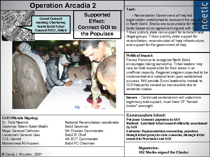 Operation Arcadia 2 Grand Council meeting Chartering North Babil Tribal Council PJCC, Hillah Supported