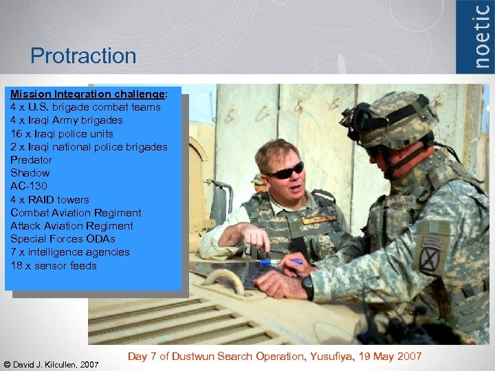 Protraction Mission Integration challenge: 4 x U. S. brigade combat teams 4 x Iraqi