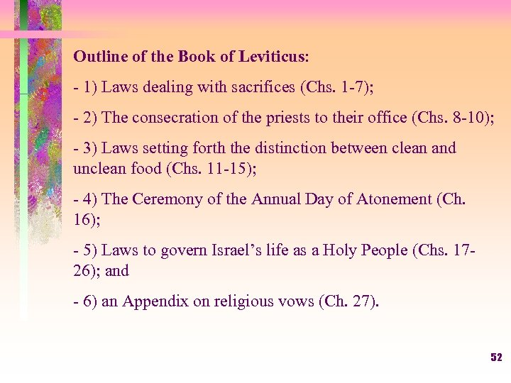 Outline of the Book of Leviticus: - 1) Laws dealing with sacrifices (Chs. 1