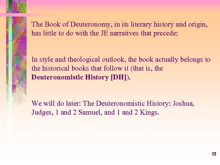 The Book of Deuteronomy, in its literary history and origin, has little to do
