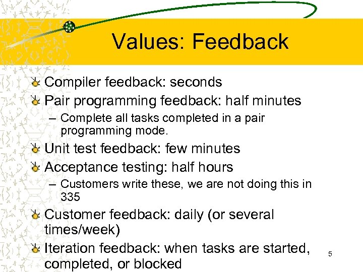 Values: Feedback Compiler feedback: seconds Pair programming feedback: half minutes – Complete all tasks