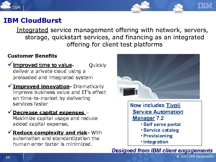 IBM Cloud. Burst Integrated service management offering with network, servers, storage, quickstart services, and