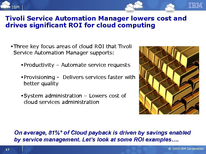 IBM Tivoli Service Automation Manager lowers cost and drives significant ROI for cloud computing