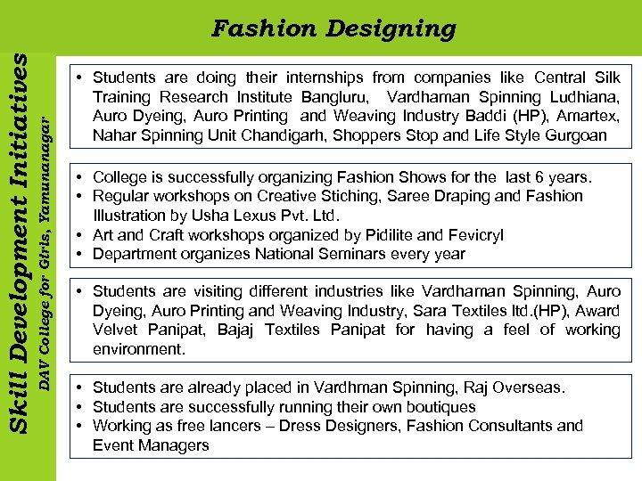DAV College for Girls, Yamunanagar Skill Development Initiatives Fashion Designing • Students are doing