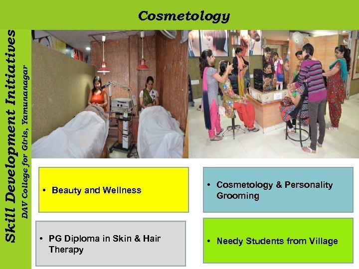 DAV College for Girls, Yamunanagar Skill Development Initiatives Cosmetology • Beauty and Wellness •