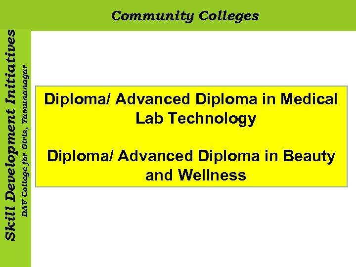 DAV College for Girls, Yamunanagar Skill Development Initiatives Community Colleges Diploma/ Advanced Diploma in