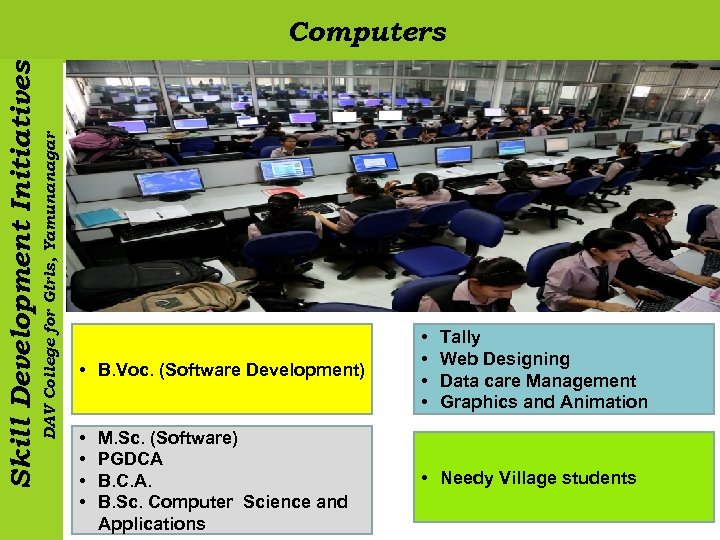 DAV College for Girls, Yamunanagar Skill Development Initiatives Computers • B. Voc. (Software Development)