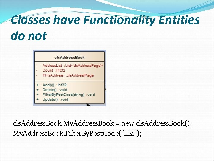 Classes have Functionality Entities do not cls. Address. Book My. Address. Book = new