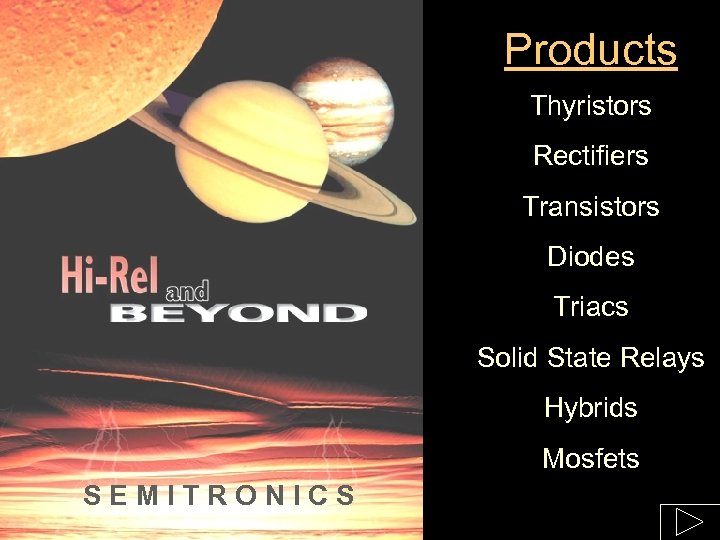 Products Thyristors Rectifiers Transistors Diodes Triacs Solid State Relays Hybrids Mosfets SEMITRONICS