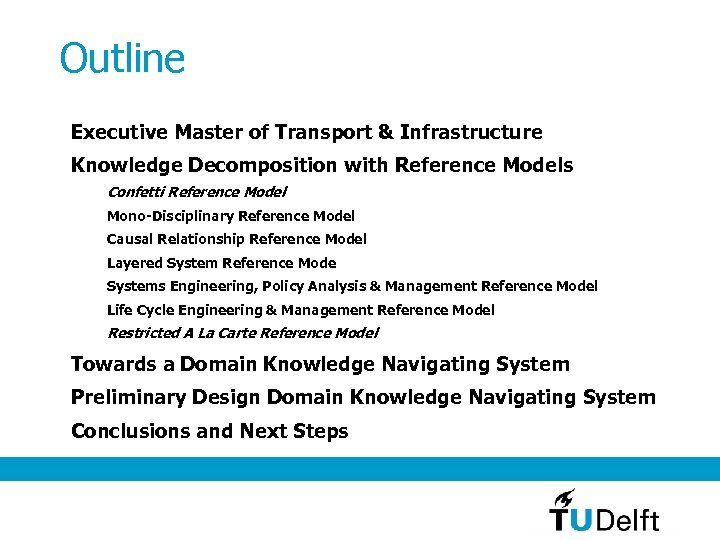 Outline Executive Master of Transport & Infrastructure Knowledge Decomposition with Reference Models Confetti Reference