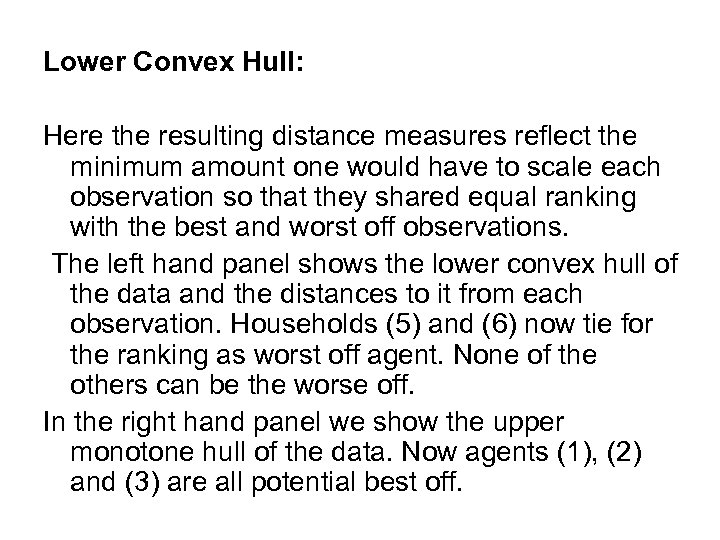 Lower Convex Hull: Here the resulting distance measures reflect the minimum amount one would