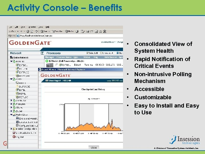 Activity Console – Benefits • Consolidated View of System Health • Rapid Notification of