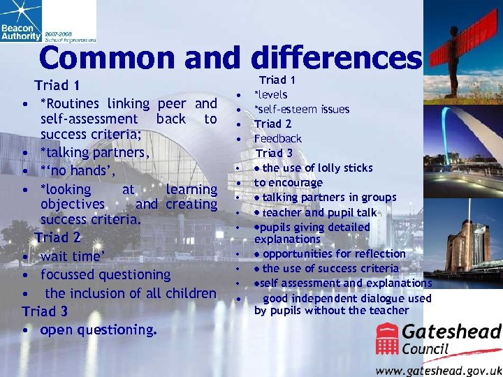 Common and differences Triad 1 • *Routines linking peer and self-assessment back to success