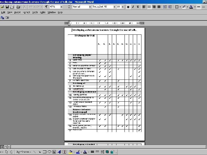 Reviewing the range of strategies used • Insert 32 strategies here.
