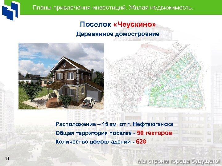 Планы привлечения инвестиций. Жилая недвижимость. Поселок «Чеускино» Деревянное домостроение Расположение – 15 км от