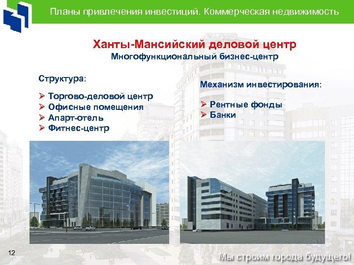 Планы привлечения инвестиций. Коммерческая недвижимость Ханты-Мансийский деловой центр Многофункциональный бизнес-центр Структура: Ø Торгово-деловой центр