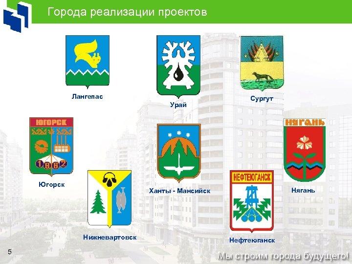 Города реализации проектов Лангепас Урай Югорск Нягань Ханты - Мансийск Нижневартовск 5 Сургут Нефтеюганск