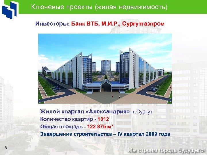 Ключевые проекты (жилая недвижимость) Инвесторы: Банк ВТБ, М. И. Р. , Сургутгазпром Жилой квартал
