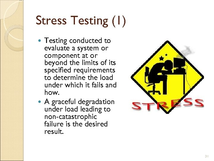 Stress Testing (1) Testing conducted to evaluate a system or component at or beyond
