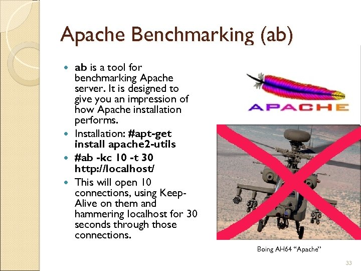 Apache Benchmarking (ab) ab is a tool for benchmarking Apache server. It is designed