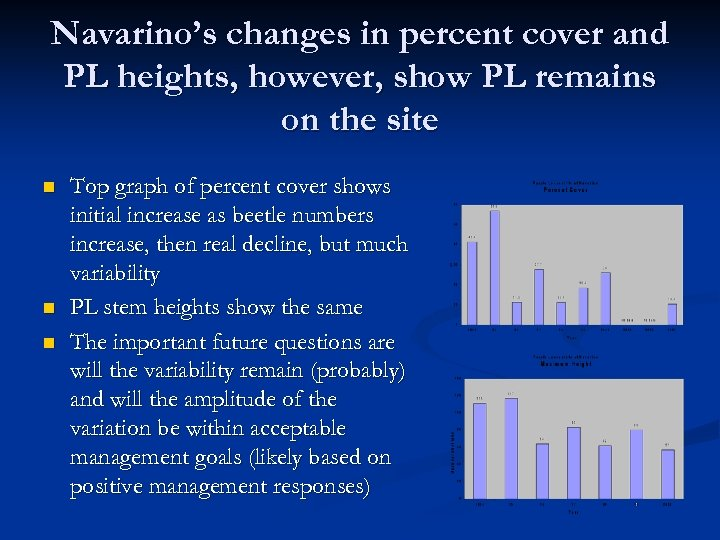 Navarino's changes in percent cover and PL heights, however, show PL remains on the