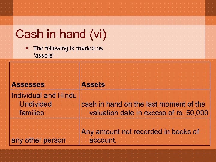 "Cash in hand (vi) § The following is treated as ""assets"" Assesses Assets Individual"