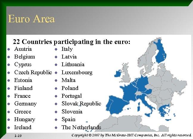 Euro Area 22 Countries participating in the euro: l l l Austria Belgium Cyprus