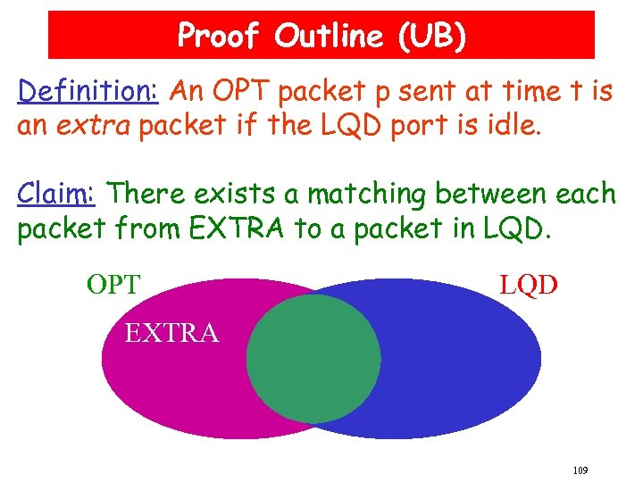 Proof Outline (UB) Definition: An OPT packet p sent at time t is an