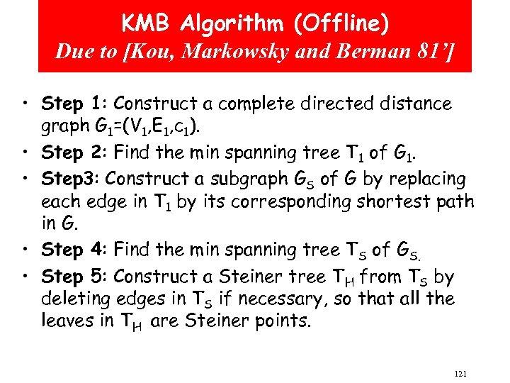 KMB Algorithm (Offline) Due to [Kou, Markowsky and Berman 81'] • Step 1: Construct
