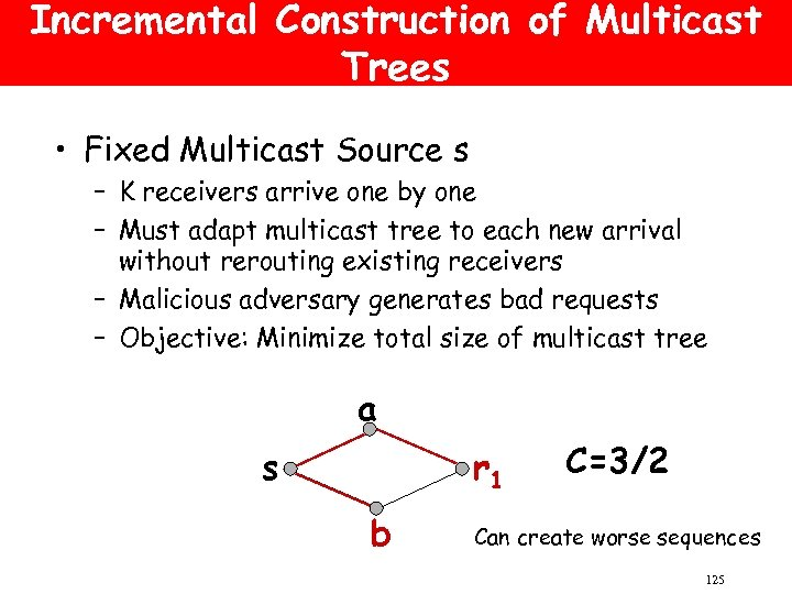 Incremental Construction of Multicast Trees • Fixed Multicast Source s – K receivers arrive