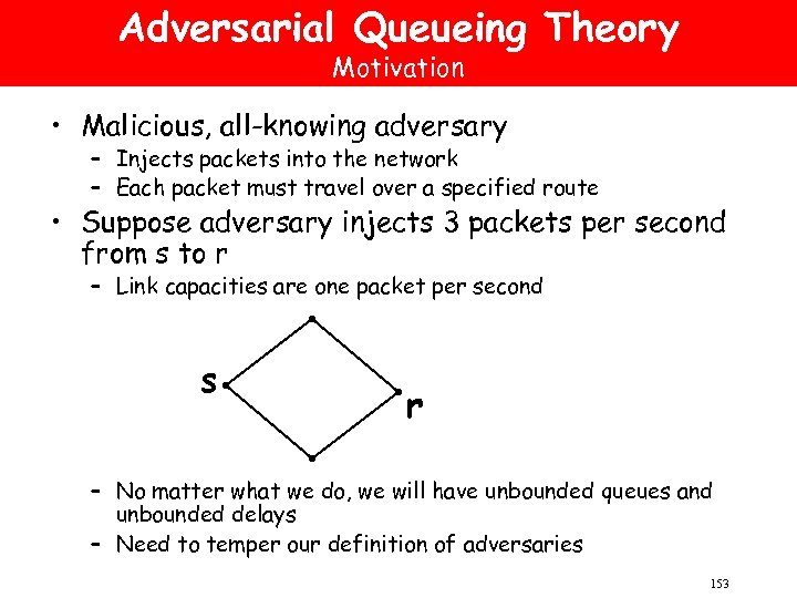 Adversarial Queueing Theory Motivation • Malicious, all-knowing adversary – Injects packets into the network