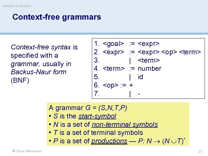 Compiler Construction Context-free grammars Context-free syntax is specified with a grammar, usually in Backus-Naur