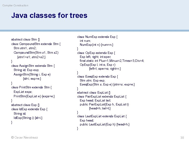 Compiler Construction Java classes for trees abstract class Stm {} class Compound. Stm extends