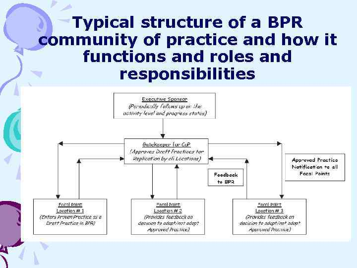 Typical structure of a BPR community of practice and how it functions and roles