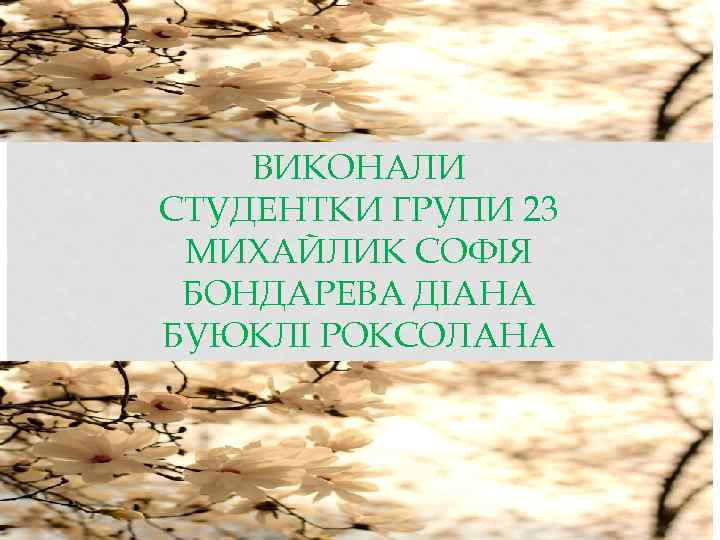 ВИКОНАЛИ СТУДЕНТКИ ГРУПИ 23 МИХАЙЛИК СОФІЯ БОНДАРЕВА ДІАНА БУЮКЛІ РОКСОЛАНА