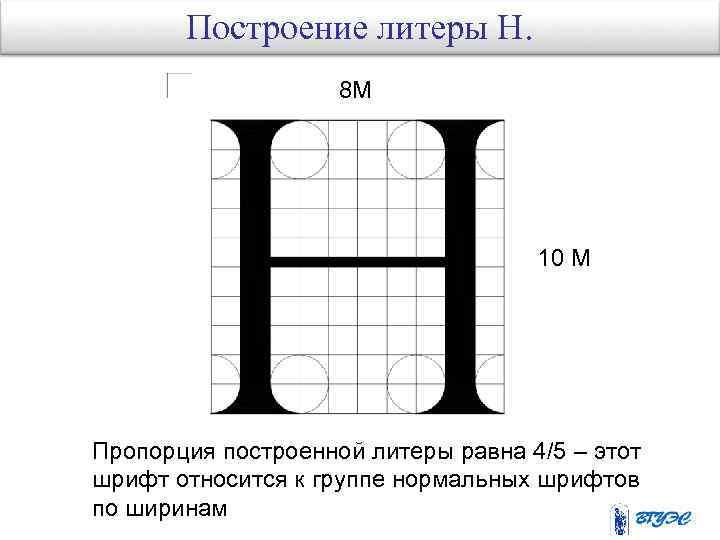 Построение литеры Н. 8 М 10 М Пропорция построенной литеры равна 4/5 – этот