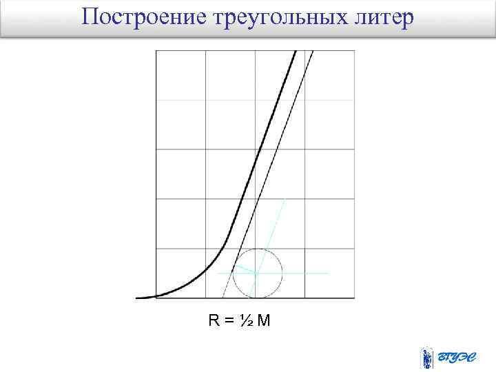 Построение треугольных литер R=½M