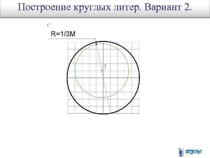 Построение круглых литер. Вариант 2. R=1/3 M